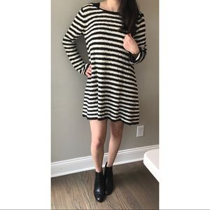 Free People Black and Cream Striped Sweater Dress
